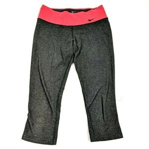 Nike Dri Fit Dark Gray Hot Pink Capri Leggings Gym